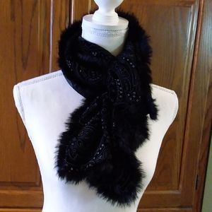 Nordstrom's Black/Shawl with Rabbit Fur